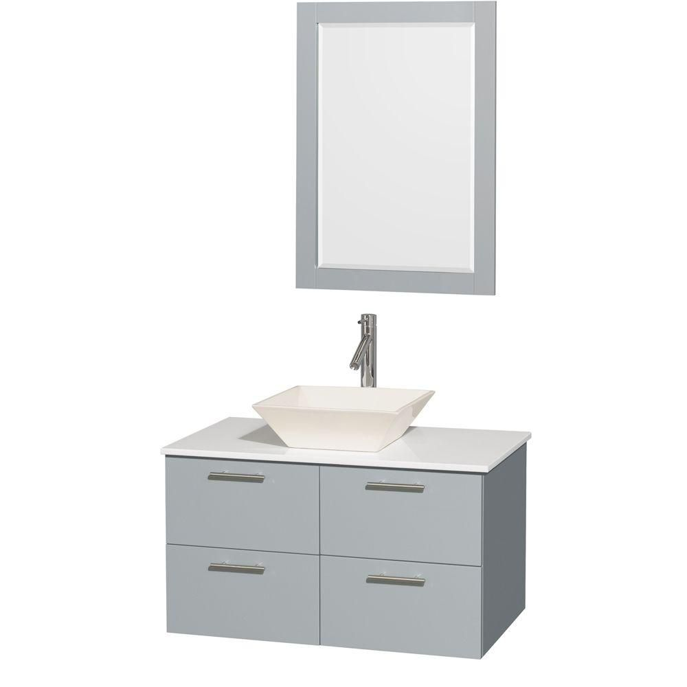 Amare 36-inch W Vanity in Dove Grey with Solid Top, Porcelain Sink and 24-inch Mirror