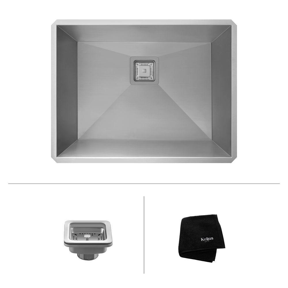 Kraus Pax Zero-Radius 24-inch 18 Gauge Handmade Undermount Single Bowl Stainless Steel Laundry/Utility Sink