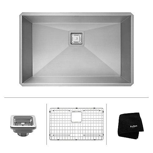 Pax Zero-Radius 28 1/2 Inch 16 Gauge Handmade Undermount Single Bowl Stainless Steel Kitchen Sink