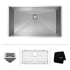 Pax Zero-Radius 31 1/2 Inch 16 Gauge Handmade Undermount Single Bowl Stainless Steel Kitchen Sink