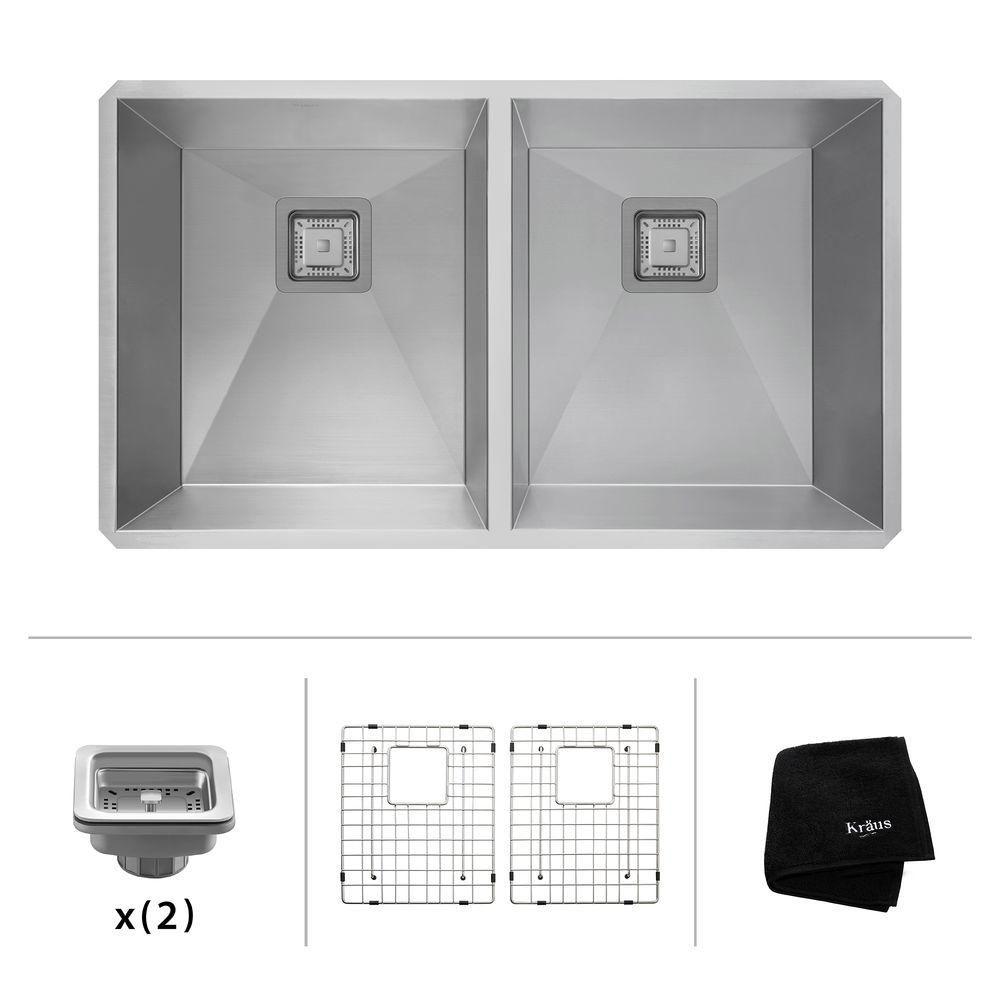 Pax Zero - Rayon de 31,5 po, jauge 16, évier de cuisine en acier inoxydable à deux cuves 50/50 en...