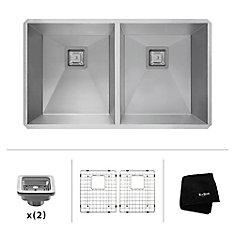 Pax Zero - Rayon de 31,5 po, jauge 16, évier de cuisine en acier inoxydable à deux cuves 50/50 encastré fait à la main