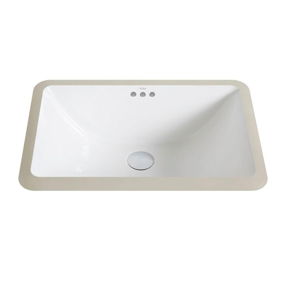 Kraus Elavo Small Ceramic Rectangular Undermount Bathroom Sink with Overflow in White