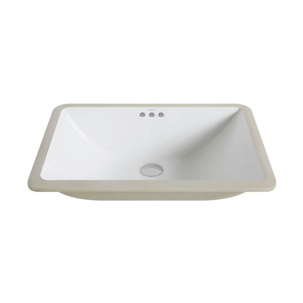 Elavo Large Ceramic Rectangular Undermount Bathroom Sink with Overflow in White