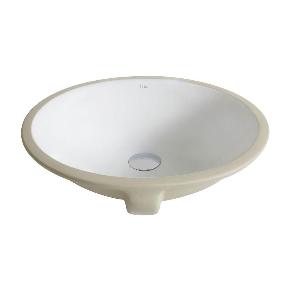 Elavo Large Ceramic Oval Undermount Bathroom Sink with Overflow in White
