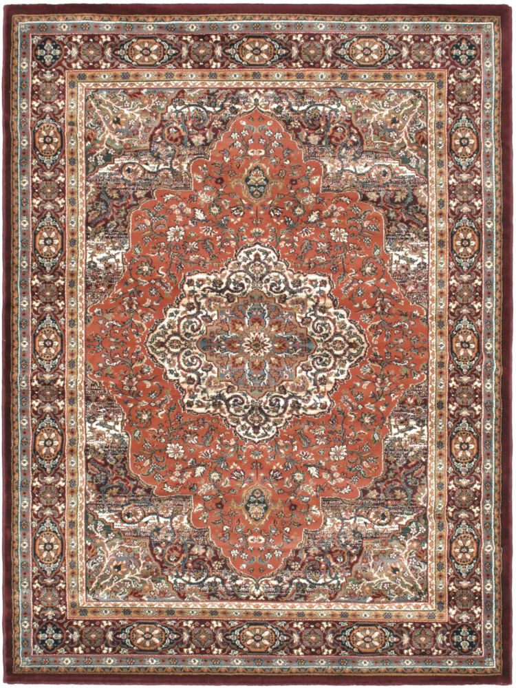 Medallion Style Copper, Dark Red Machine Made Rug 5 Feet 6 Inch X 7 Feet 5 Inch
