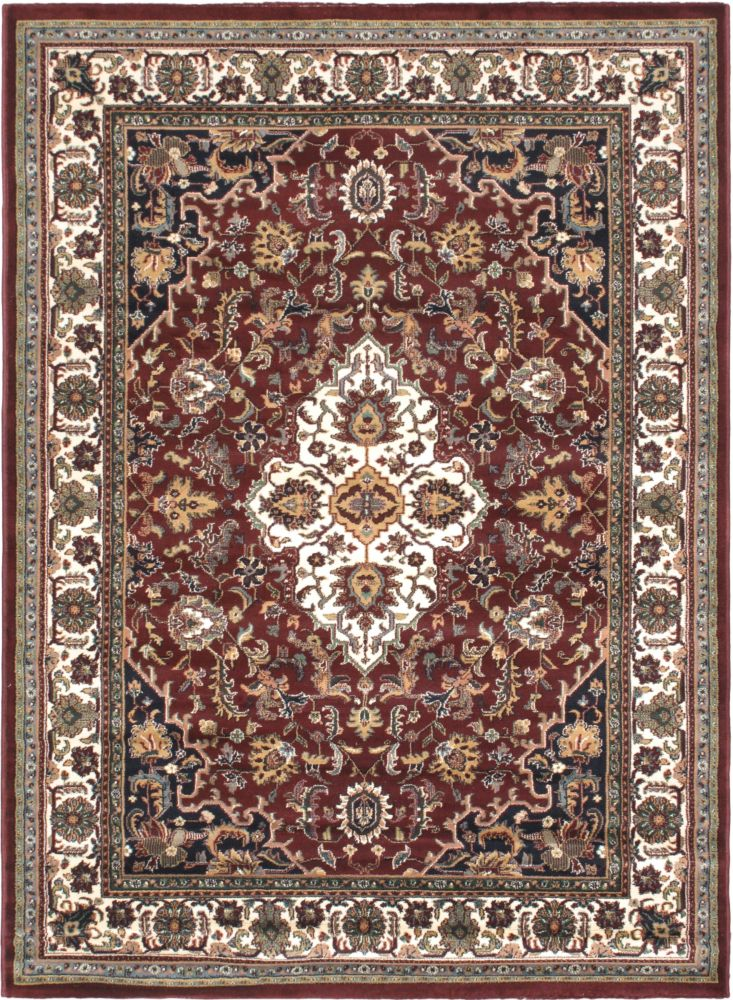 Medallion Style Burgundy, Cream Machine Made Rug 5 Feet 6 Inch X 7 Feet 6 Inch