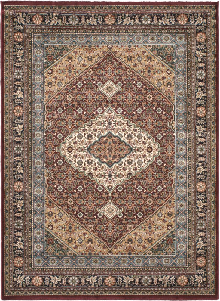 Medallion Style Beige, Burgundy Machine Made Rug 5 Feet 6 Inch X 7 Feet 6 Inch