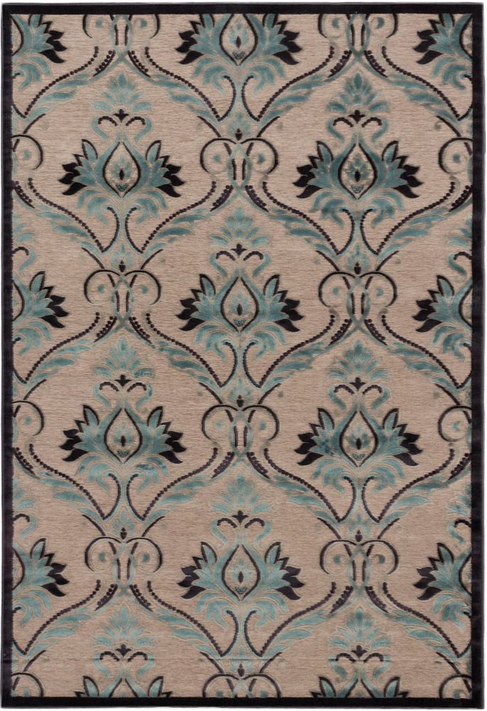 Alhambra Dark Navy, Light Gray, Turquoise Power Loomed Rug 5 Feet 3 Inch X 7 Feet 6 Inch