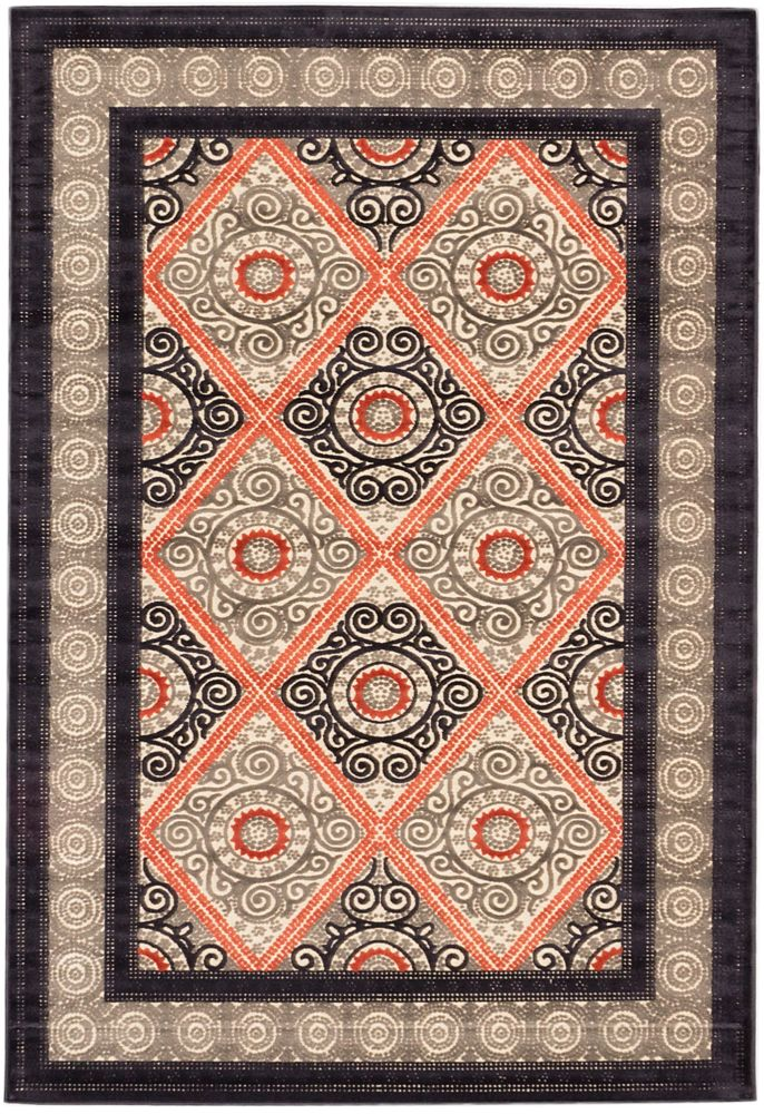Granada Copper, Dark Navy Power Loomed Rug 5 Feet 3 Inch X 7 Feet 6 Inch