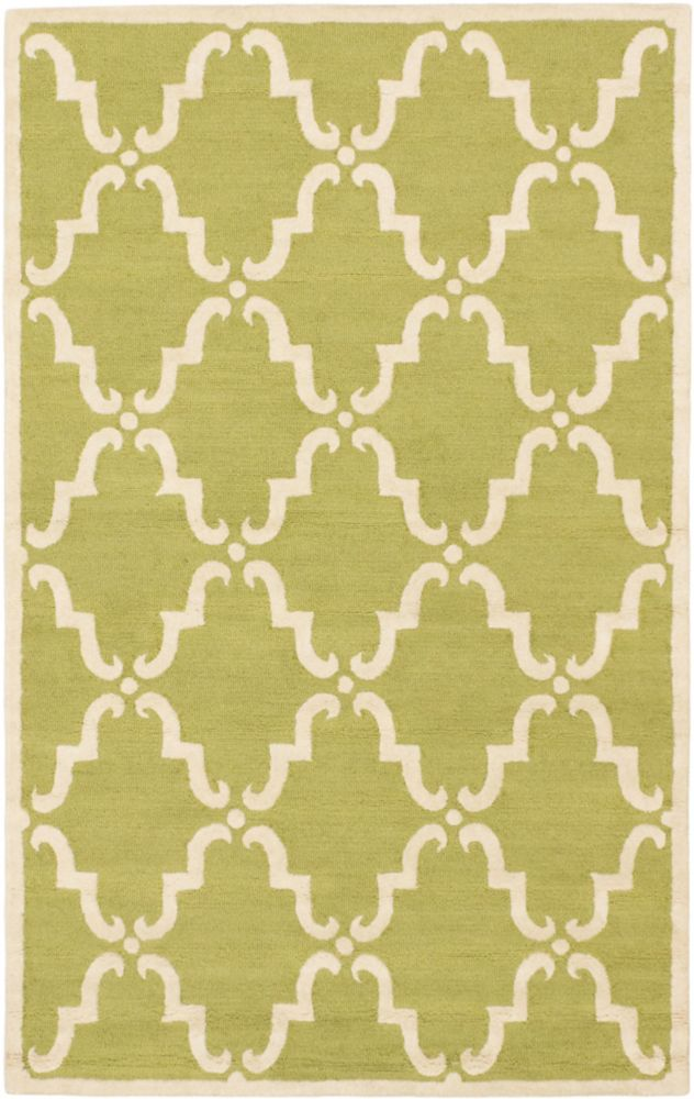 Marrakech Cream, Light Green Hand Tufted Rug 5 Feet 0 Inch X 8 Feet 0 Inch