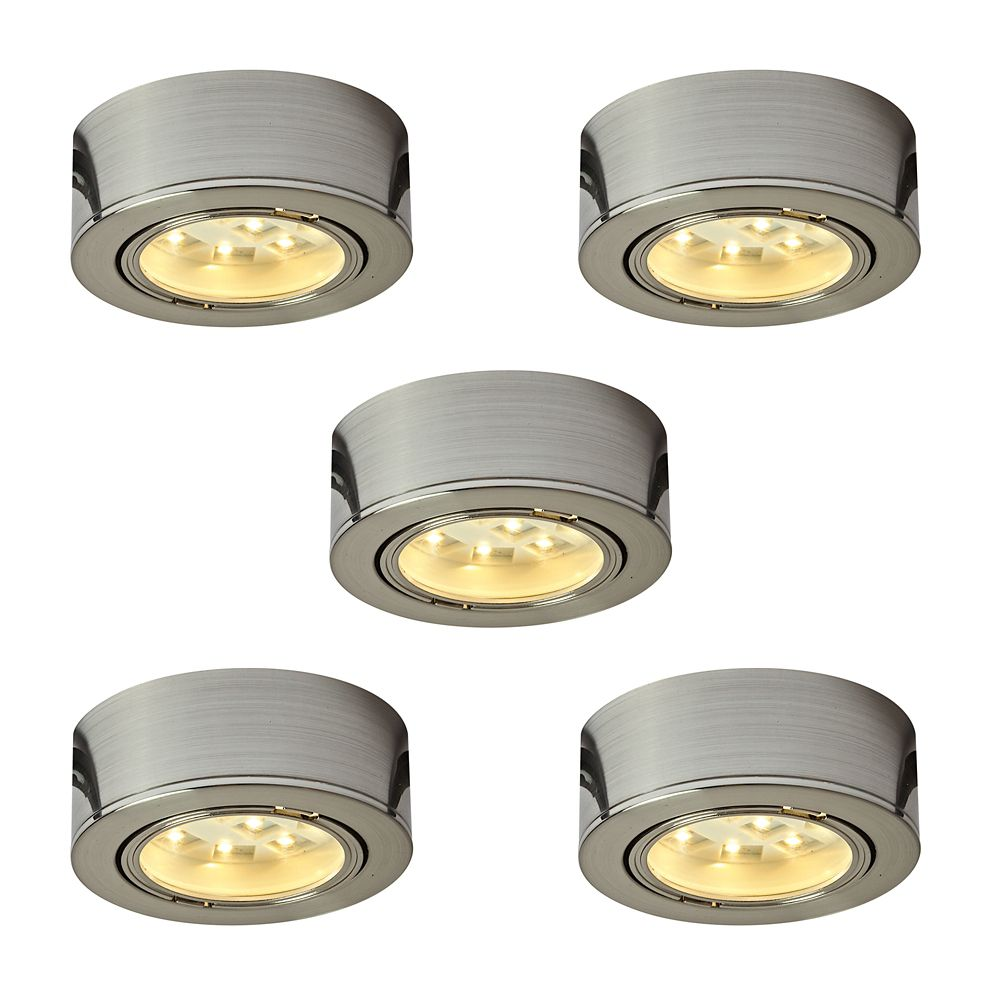 Illume Kit of 5x 120V Plastic LED Pucks, Satin nickel