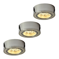 Illume Kit of 3x 120V Plastic LED Pucks, Satin nickel