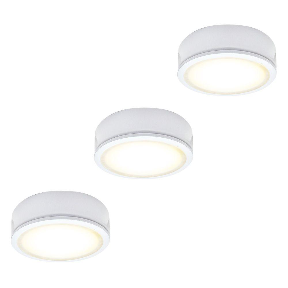 Illume Ensemble de 3 rondelles métalliques DEL 120V, blanc