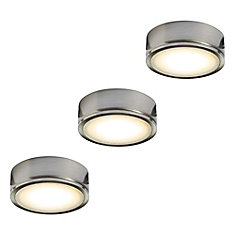 Illume Kit of 3x 120V Metal LED Pucks, Satin nickel