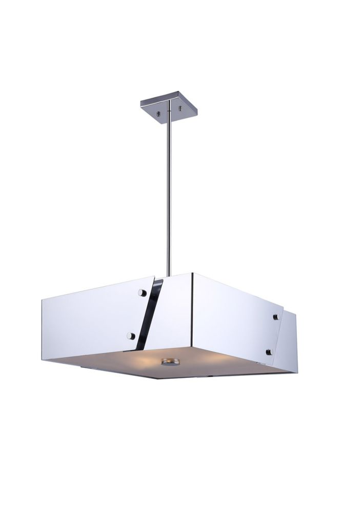 Edge 3-Light Chrome Chandelier with Frosted Glass Diffuser