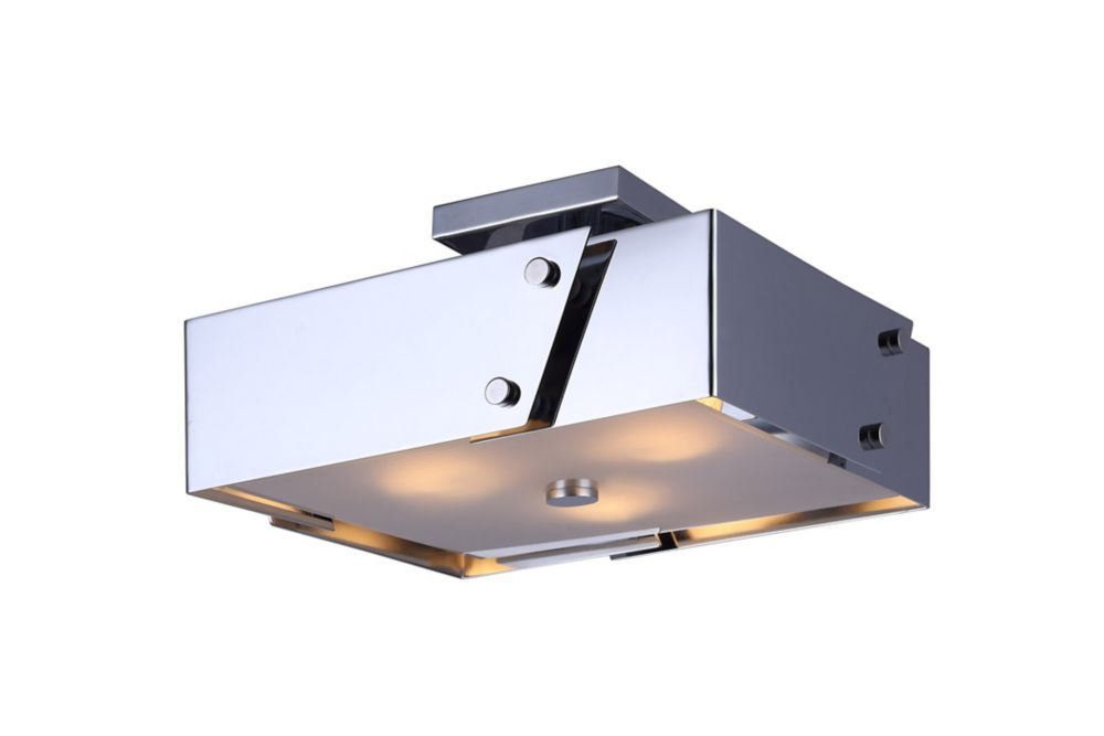 Edge 3-Light Chrome Semi Flush Mount with Frosted Glass Diffuser