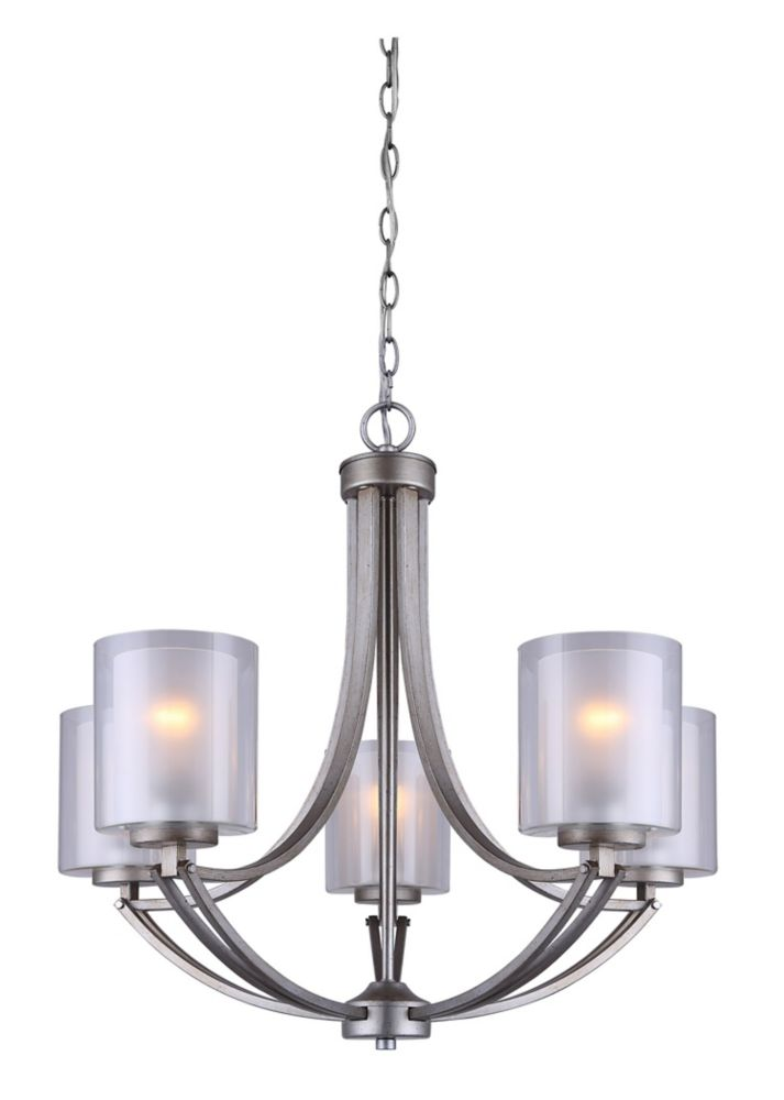 Bay 5-Light Historic Gold Chandelier with Clear and Frosted Double Glass