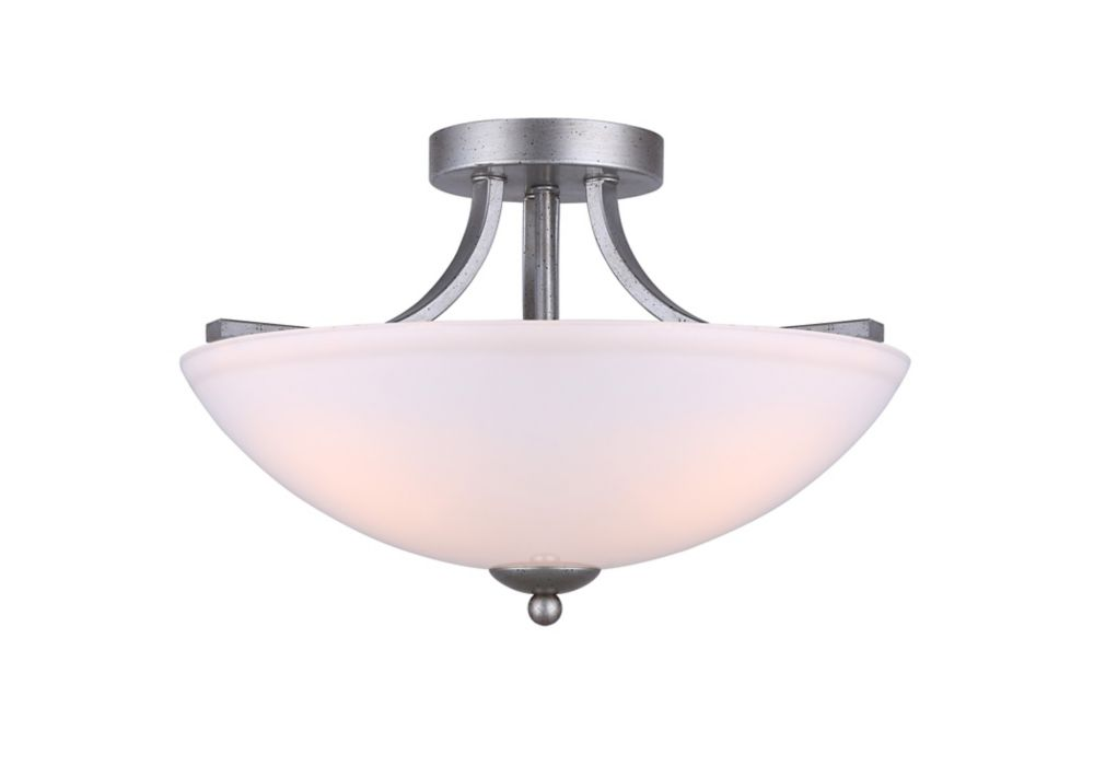 Bay 3-Light Historic Gold Semi Flush Mount with Flat Opal Glass