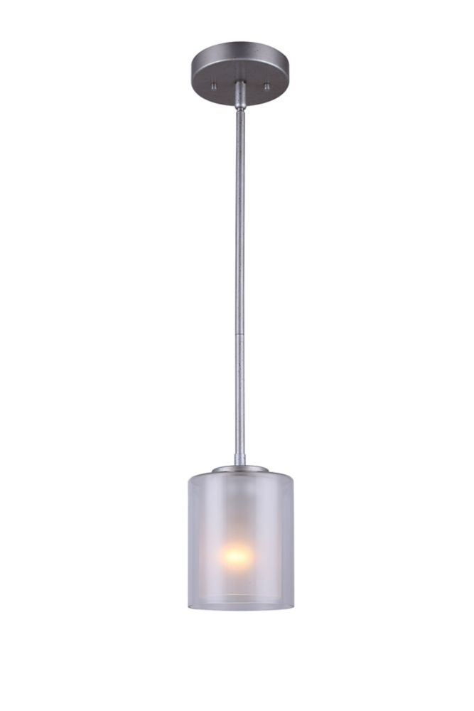 Bay 1-Light Historic Gold Pendant with Clear and Frosted Double Glass