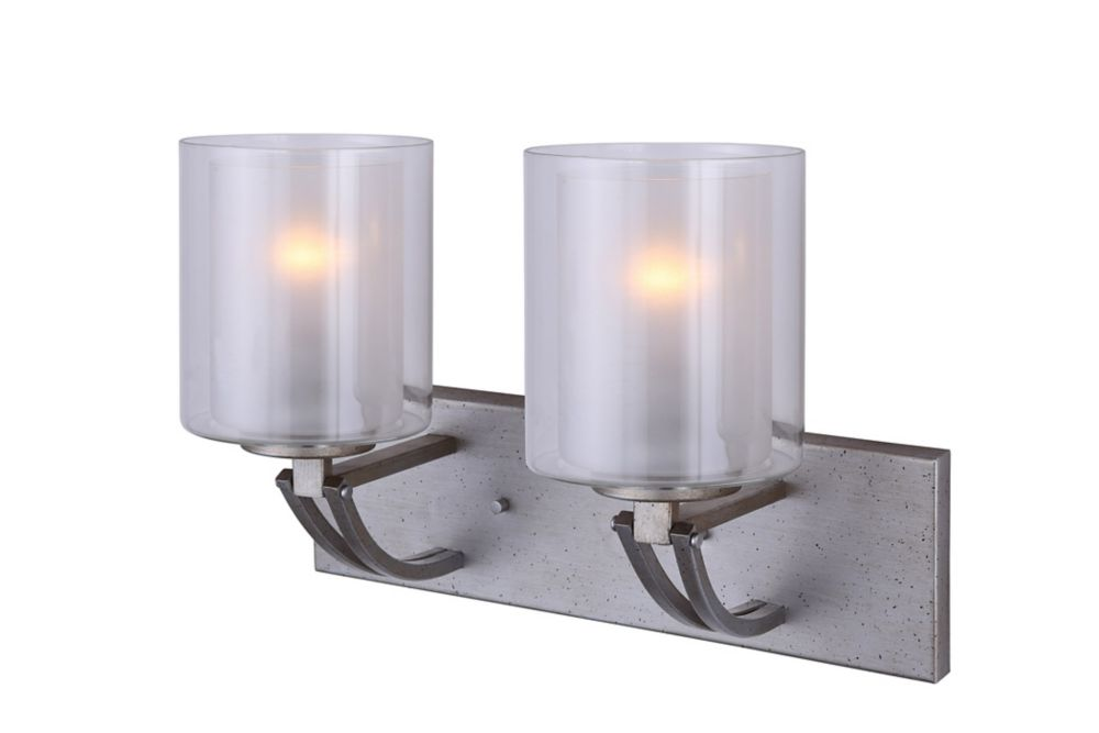 Bay 2-Light Historic Gold Vanity Light with Clear and Frosted Double Glass