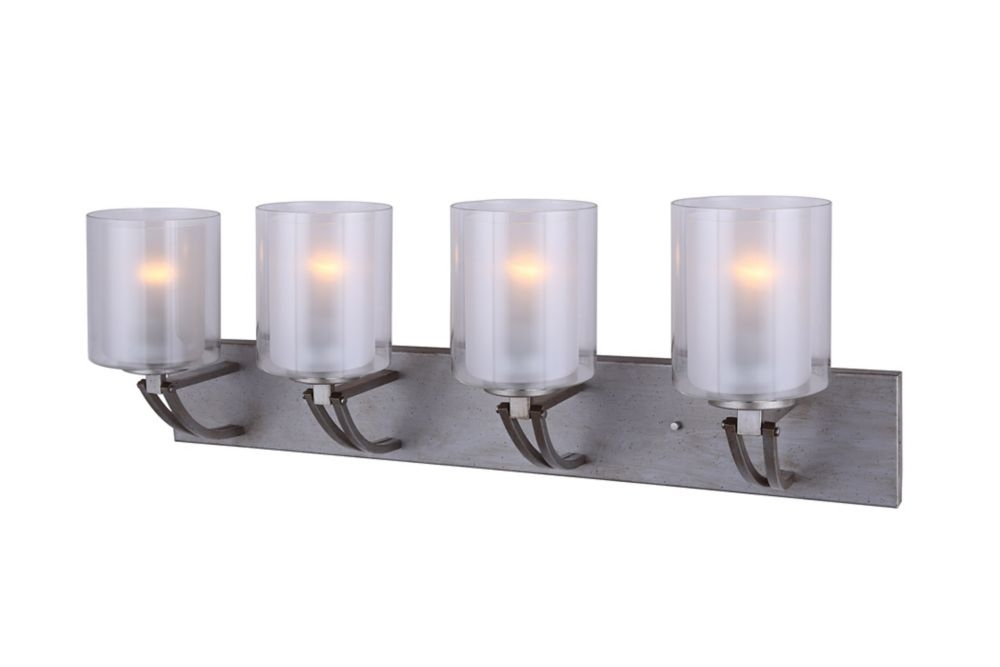 Bay 4-Light Historic Gold Vanity Light with Clear and Frosted Double Glass