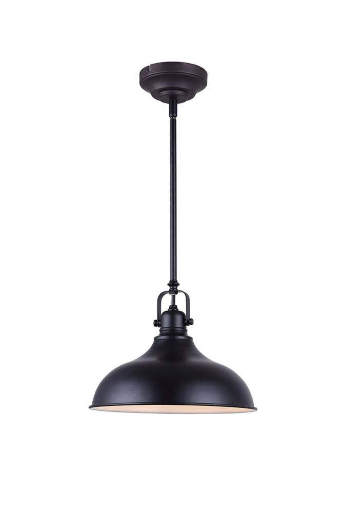 Canarm Ltd. Sussex 1-Light Black Integrated LED Pendant Light Fixture