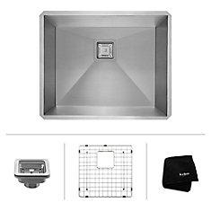 Pax Zero-Radius 22 1/2 Inch 16 Gauge Handmade Undermount Single Bowl Stainless Steel Kitchen Sink