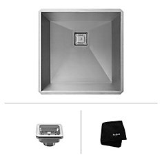 Pax Zero-Radius 18 1/2 Inch 18 Gauge Handmade Undermount Single Bowl Stainless Steel Bar/Prep Sink
