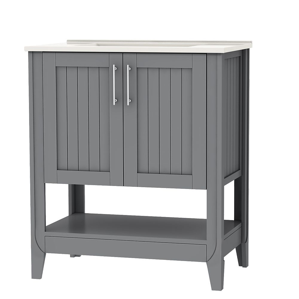 Magick Woods Newhaven 30 Inch Vanity Cabinet In Grey The Home Depot Canada