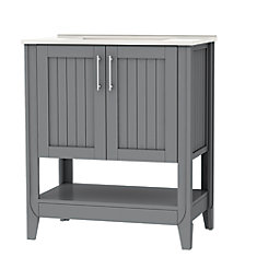Cloverton 30-inch W 2-Door Vanity in Grey with White Ceramic Top and Sink