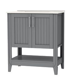 Home Decorators Collection Cloverton 30-inch W 2-Door Vanity in Grey with White Ceramic Top and Sink