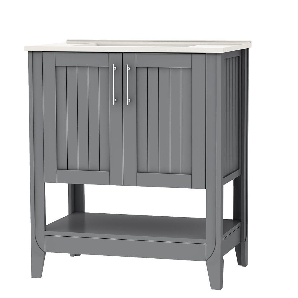 Cloverton 30 Inch W 2 Door Vanity In Grey With White Ceramic Top And