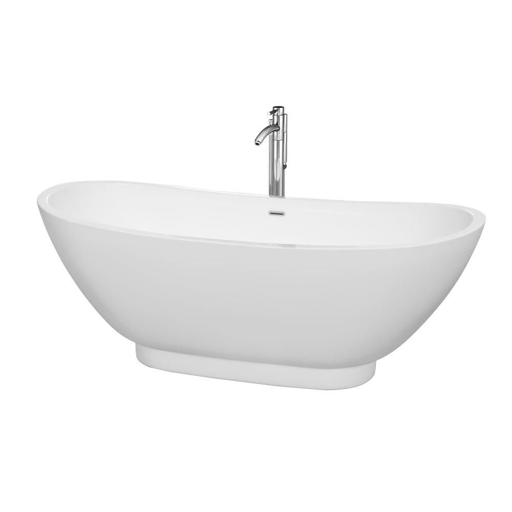 Clara 5 Feet 9-Inch Freestanding Bathtub with Tub Filler, Drain and Overflow Trim in Polished Chr...