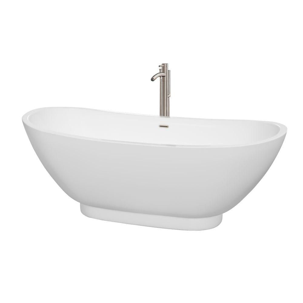 "Baignoire autoportante Clara 69"" blanche, robinet, drain et trop-plein en finition nickel brossé"