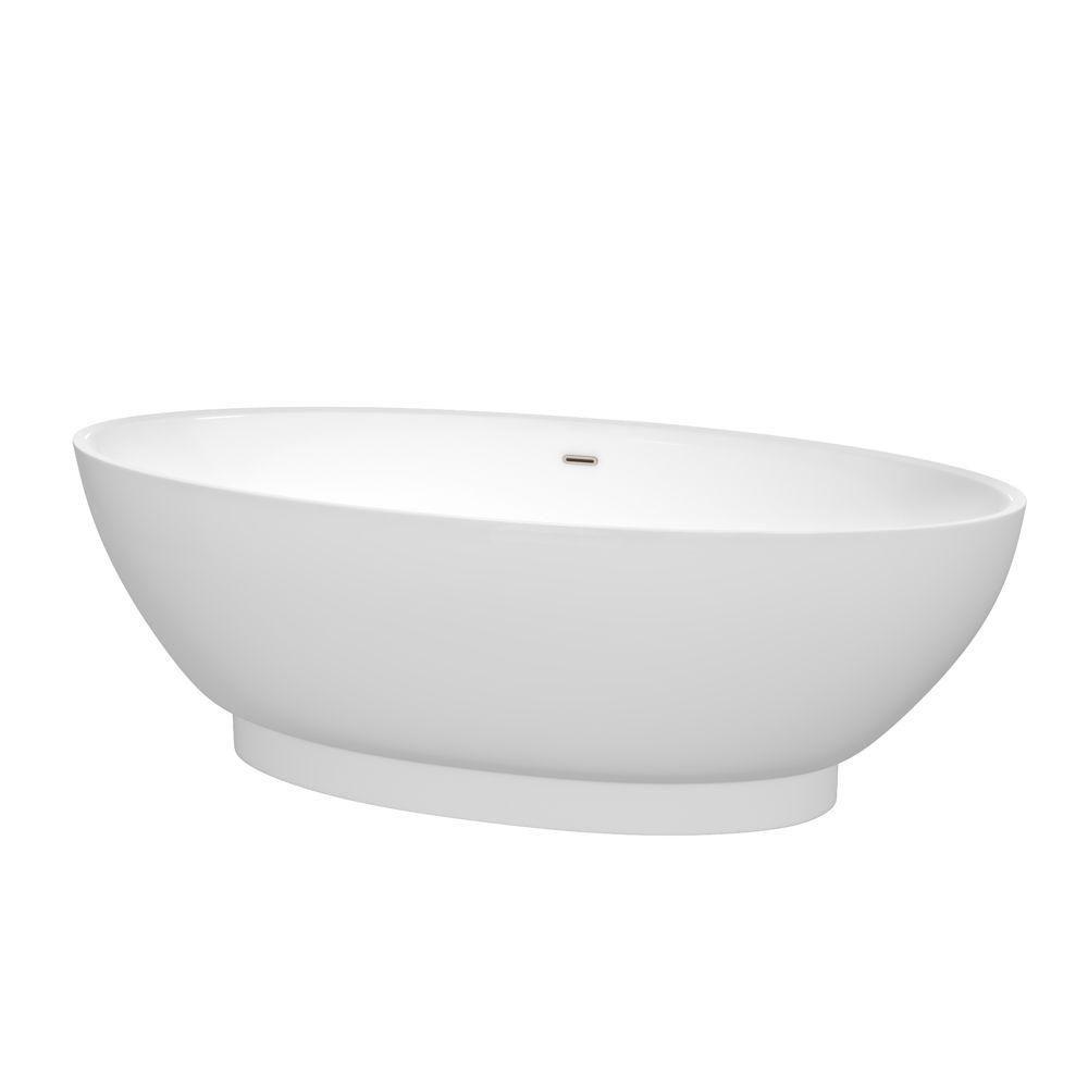 Helen 6 Feet Freestanding Bathtub with Brushed Nickel Drain and Overflow Trim