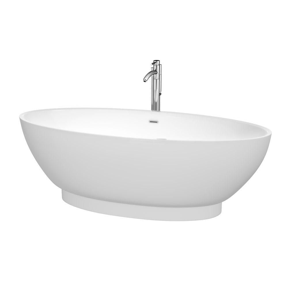 Helen 6 Feet Freestanding Bathtub with Tub Filler, Drain and Overflow Trim in Polished Chrome