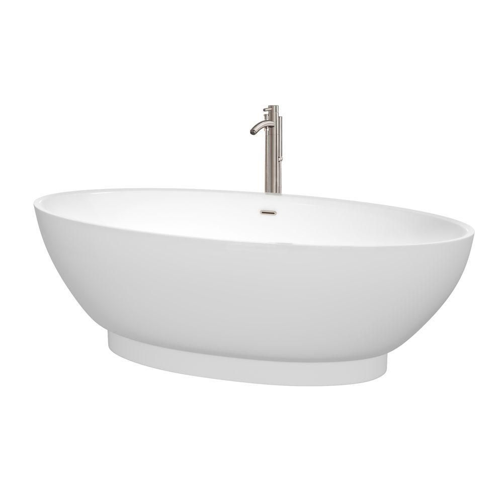 Helen 6 Feet Freestanding Bathtub with Tub Filler, Drain and Overflow Trim in Brushed Nickel