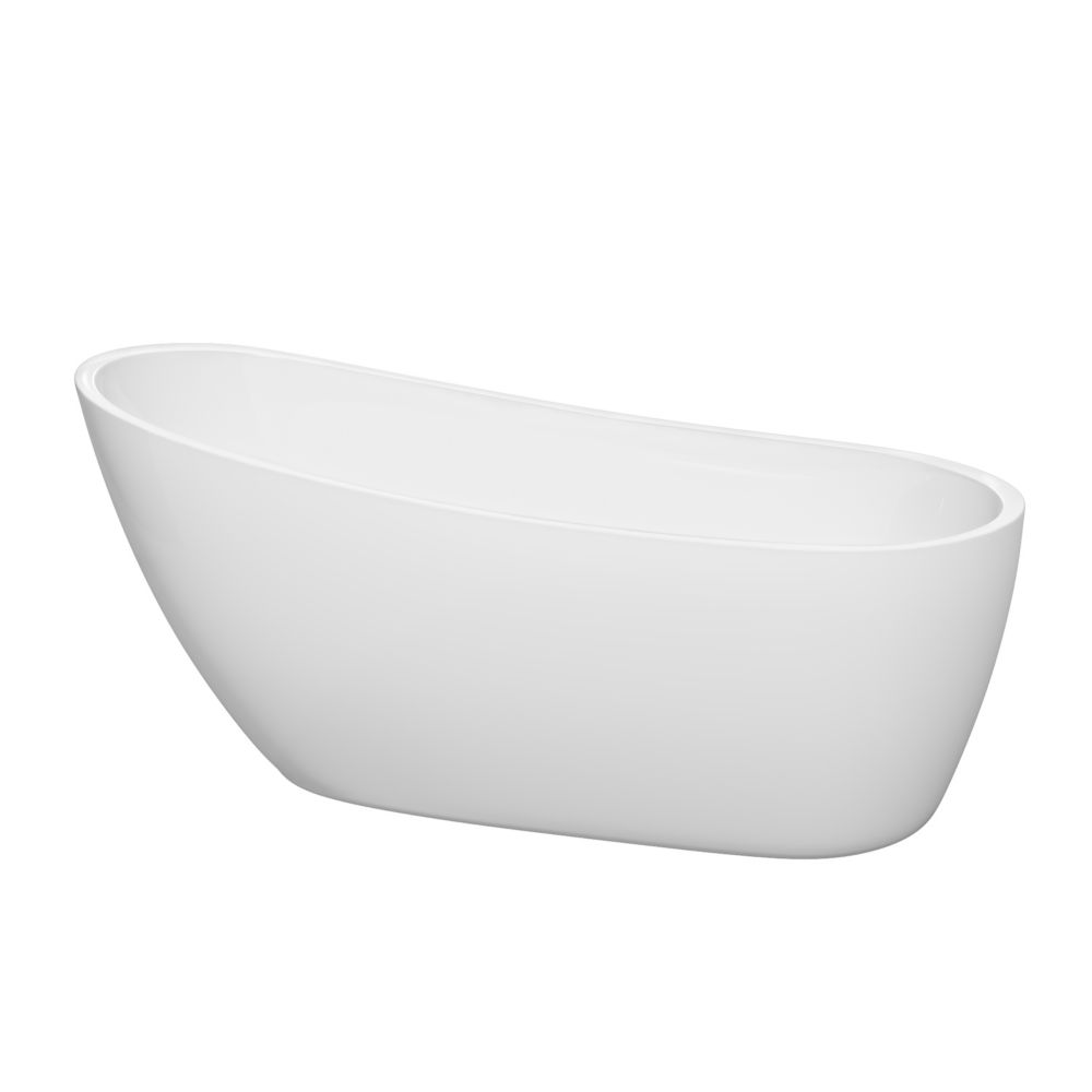 Florence 5 Feet 7-Inch Freestanding Bathtub with Brushed Nickel Drain and Overflow Trim