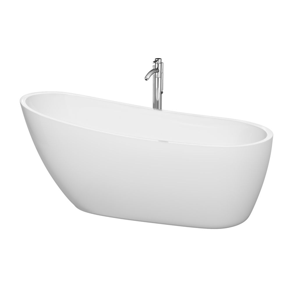 Florence 5 Feet 7-Inch Freestanding Bathtub with Tub Filler, Drain and Overflow Trim in Polished ...