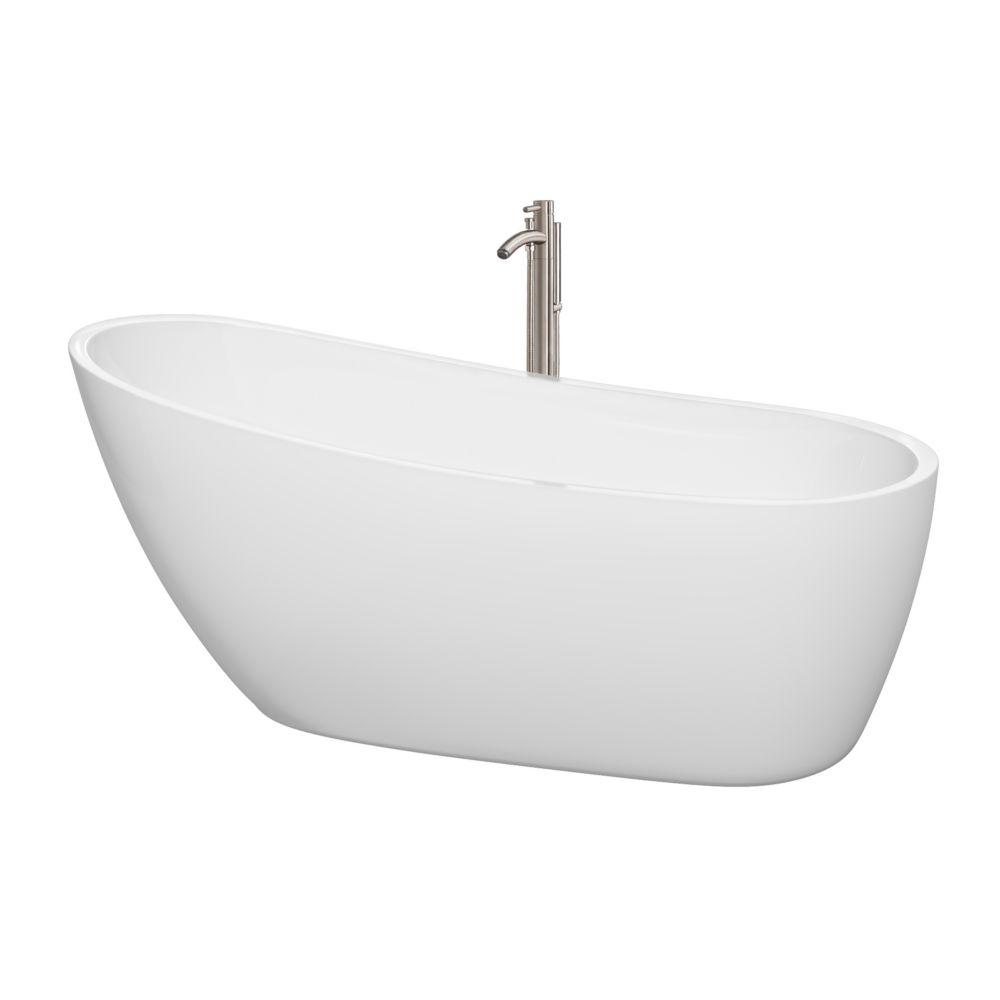 wyndham collection baignoire autoportante florence 68 blanche robinet drain et trop plein en. Black Bedroom Furniture Sets. Home Design Ideas
