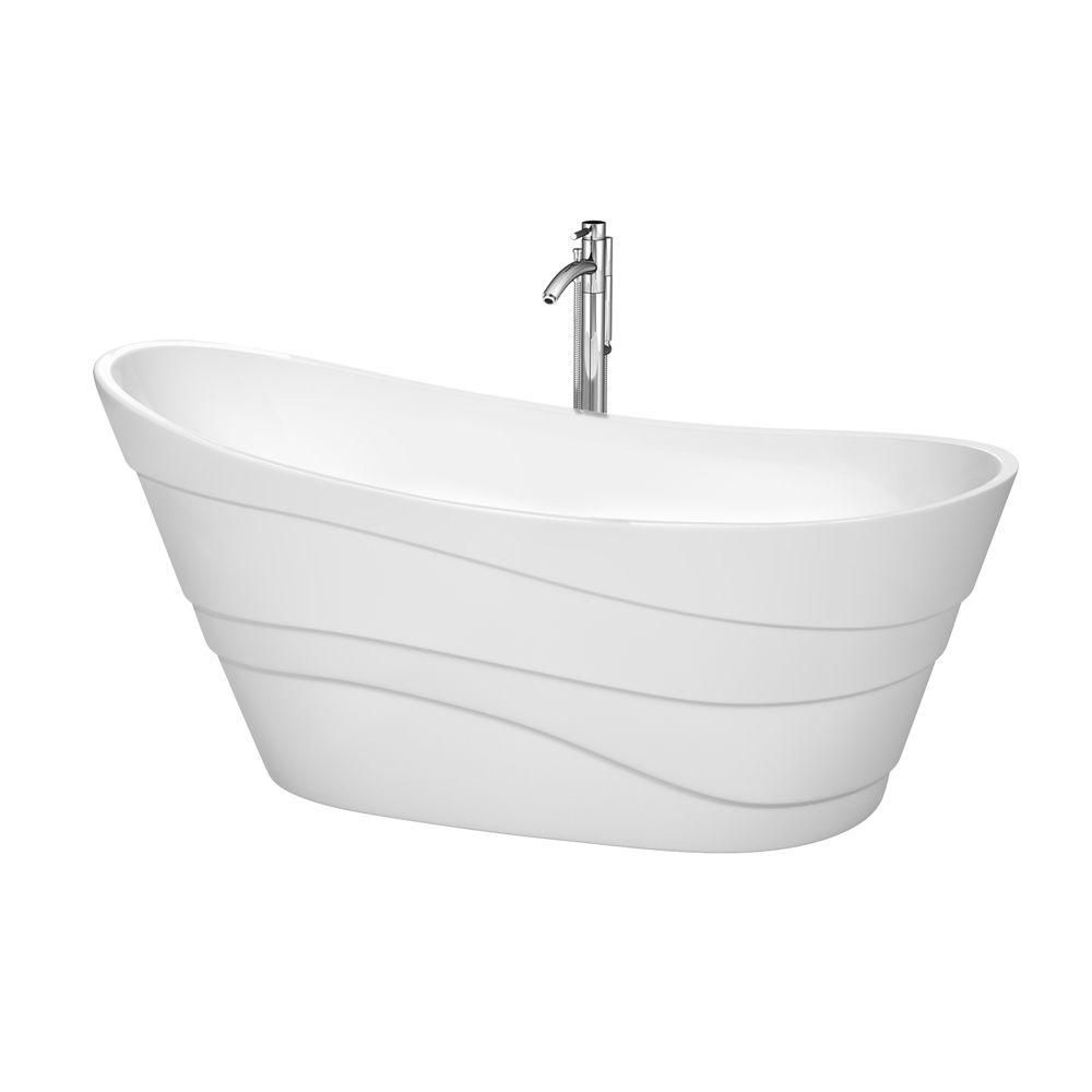 Kari 5 Feet 6-Inch Bathtub with Tub Filler, Drain and Overflow Trim in Polished Chrome