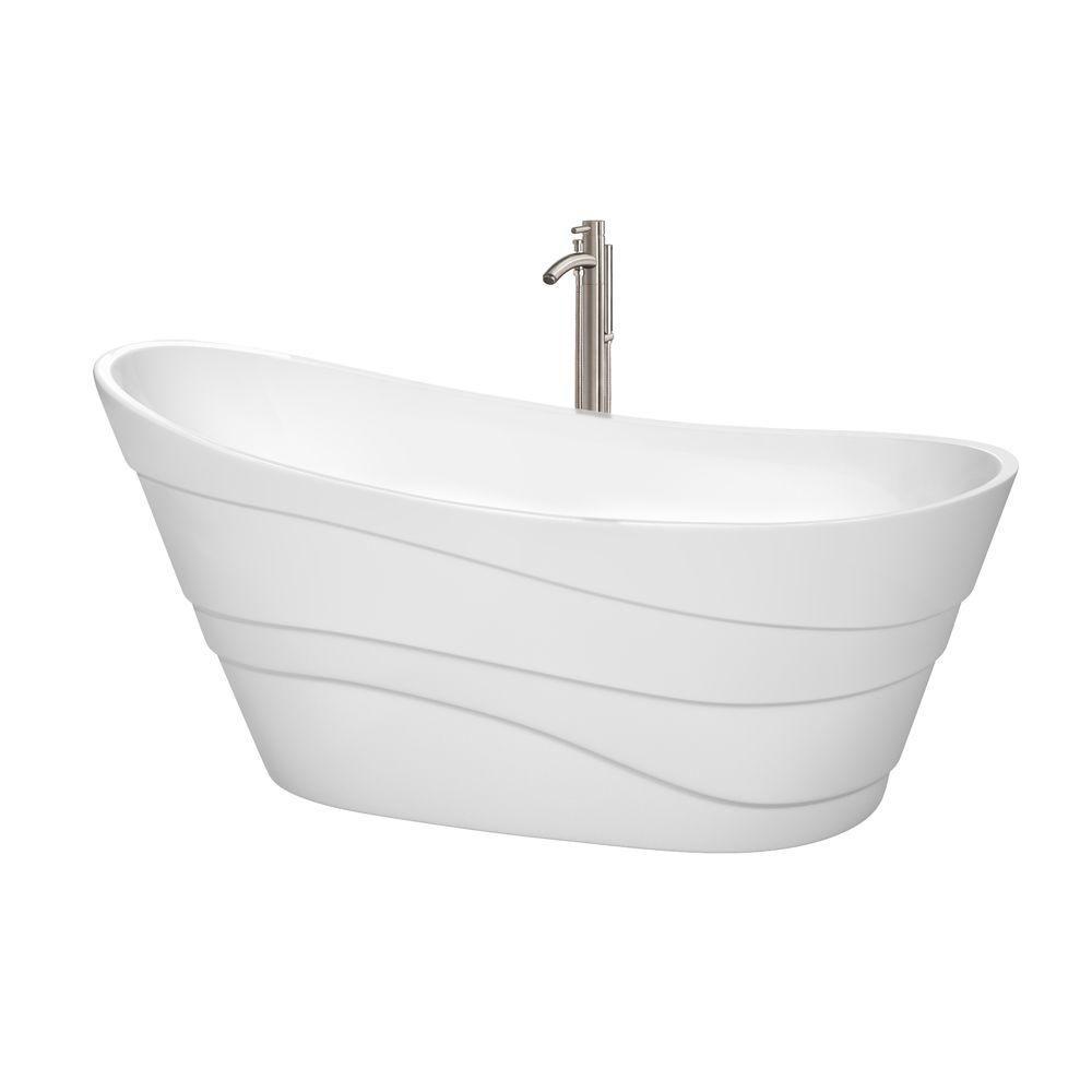 Kari 5 Feet 6-Inch Bathtub with Tub Filler, Drain and Overflow Trim in Brushed Nickel