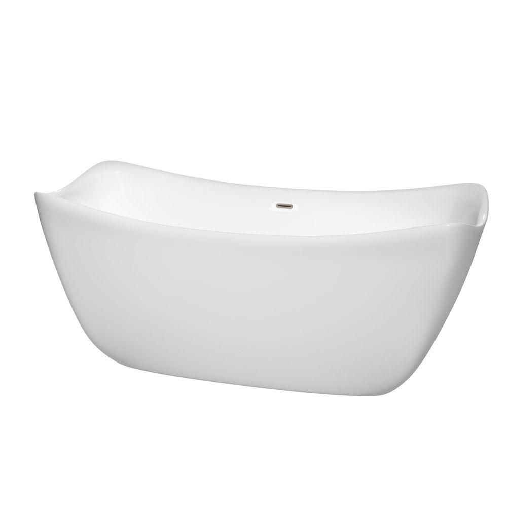 Donna 5 Feet 6-Inch Freestanding Bathtub with Brushed Nickel Drain and Overflow Trim