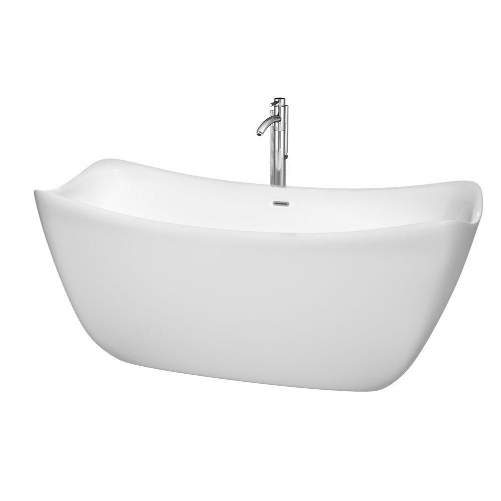 Donna 5 Feet 6-Inch Freestanding Bathtub with Tub Filler, Drain and Overflow Trim in Polished Chr...