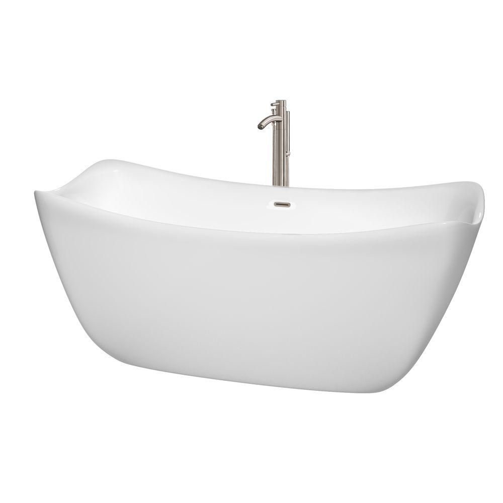 Donna 5 Feet 6-Inch Freestanding Bathtub with Tub Filler, Drain and Overflow Trim in Brushed Nick...