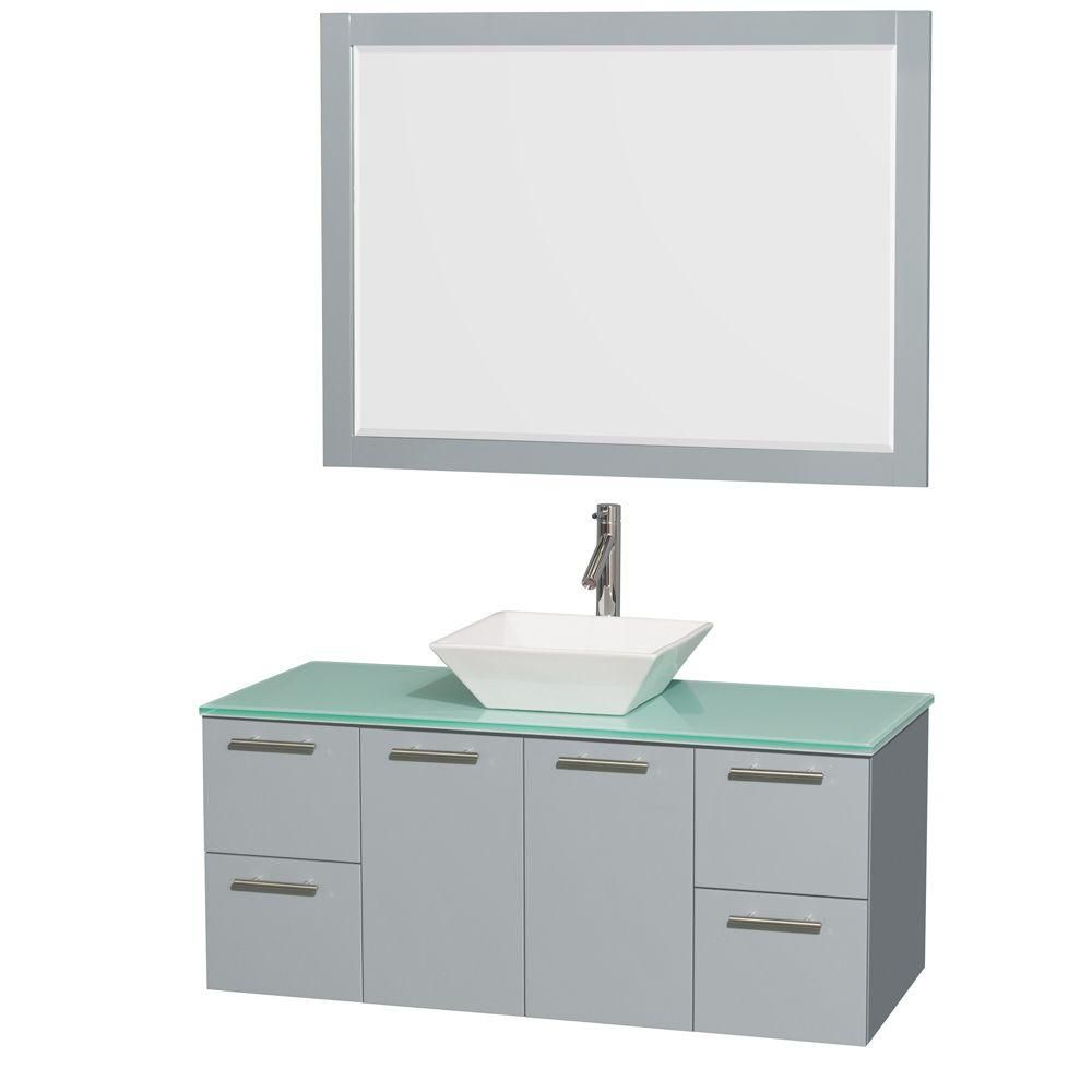 """Meuble s. bains simp Amare 48"""" gris colombe, comptoir verre vert, évier porcelaine blc, mir 46"""""""