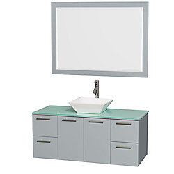 Wyndham Collection Amare 48-inch W 4-Drawer 2-Door Wall Mounted Vanity in Grey With Top in Green With Mirror