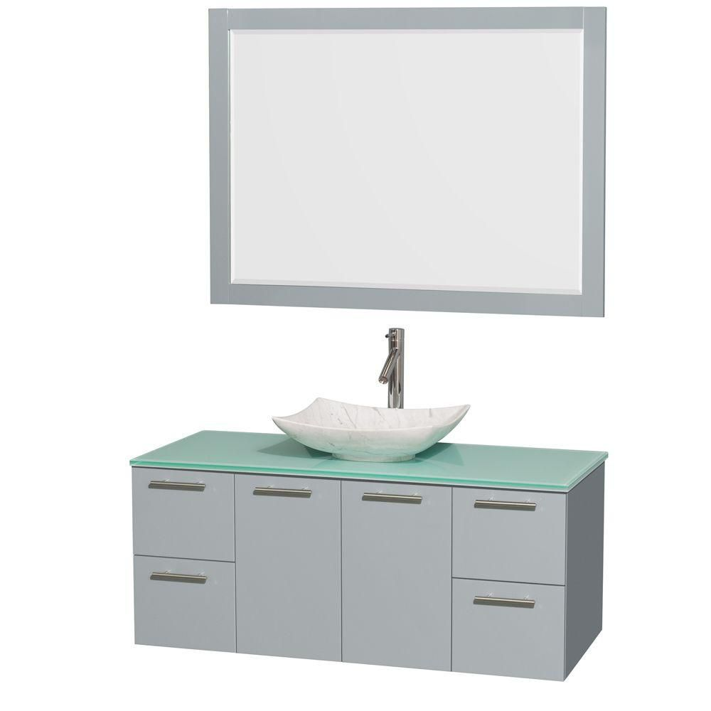 Amare 48-inch W Vanity in Dove Grey with Glass Top, Carrara Sink and 46-inch Mirror