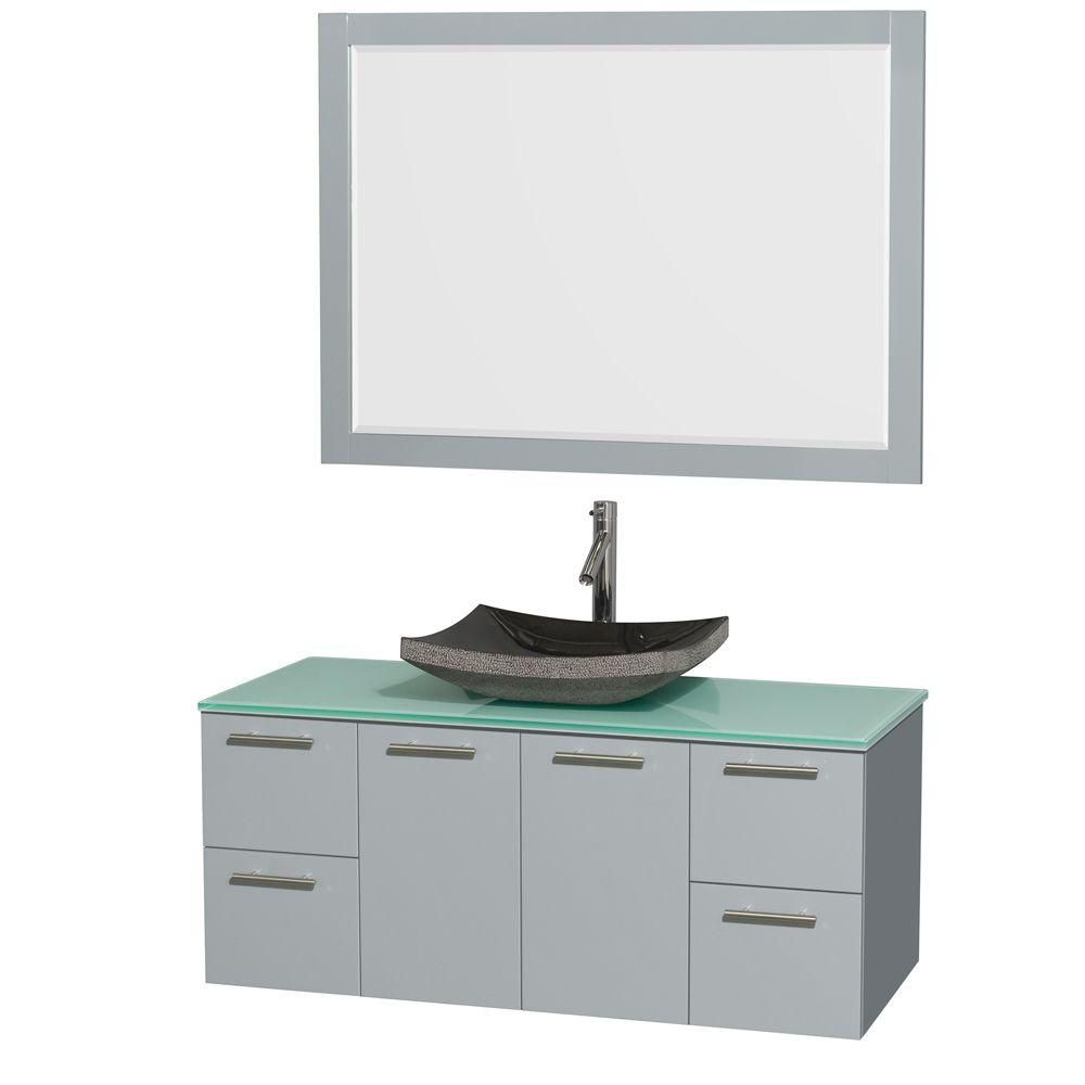 Amare 48-inch W Vanity in Dove Grey with Glass Top, Granite Sink and 46-inch Mirror